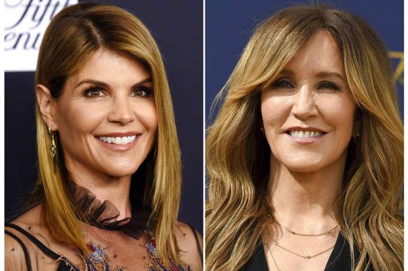美國耶魯等8所菁英大學爆發錄取醜聞,涉嫌行賄的女星羅林(Lori Loughlin,左)及費麗西蒂荷夫曼(Felicity Huffman,右)。(AP)