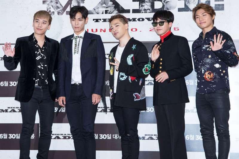 南韓天團Big Bang,由左而右為勝利、T.O.P、太陽、G-Dragon、大聲(資料照,AP)