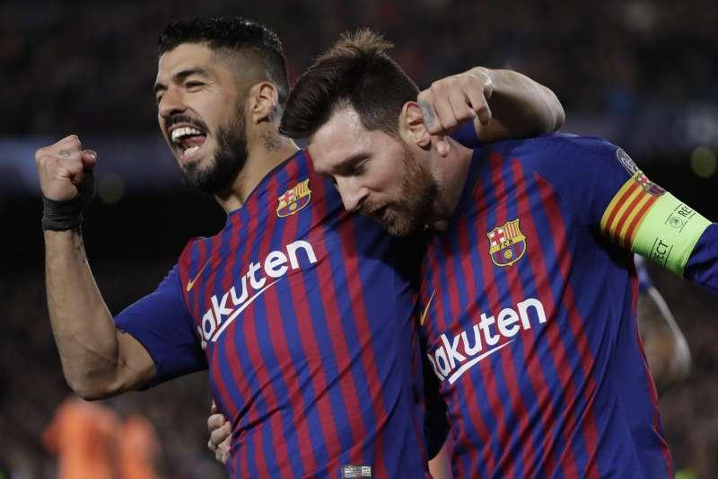 梅西(右)攻進2球,巴薩達成歐冠主場連續30場不敗。(美聯社)