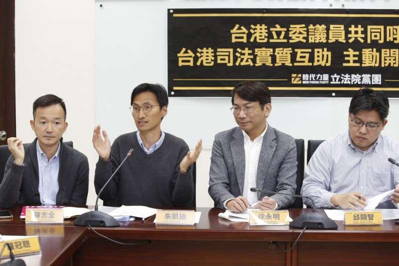香港立法會議員陳志全(左一)與朱凱迪(左二)等人拜會國內政黨,尋求協助。(郭晉瑋攝)