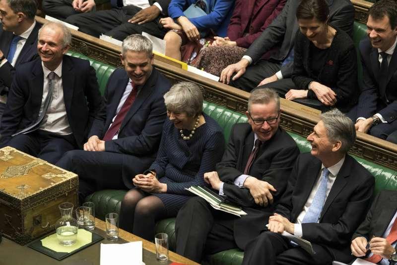 2019年3月14日,英國首相梅伊連續第三天面對表決硬仗。(美聯社)