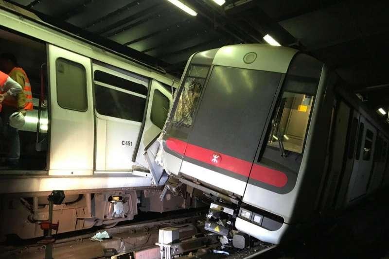 香港地鐵18日凌晨發生撞車事故,幸好沒有乘客受傷,這也是港鐵自1979年開通以來首次發生相撞事故。(港鐵)