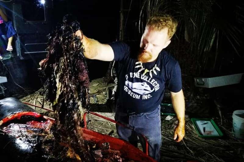一頭鯨魚在菲律賓的海岸擱淺,吐血而亡。一解剖才發現牠肚內竟塞了40公斤的塑膠袋,令牠無法進食,也沒有體力游回大海,最後在脫水、飢餓的狀態下死亡。(圖/D' Bone Collector Museum Inc. FB)