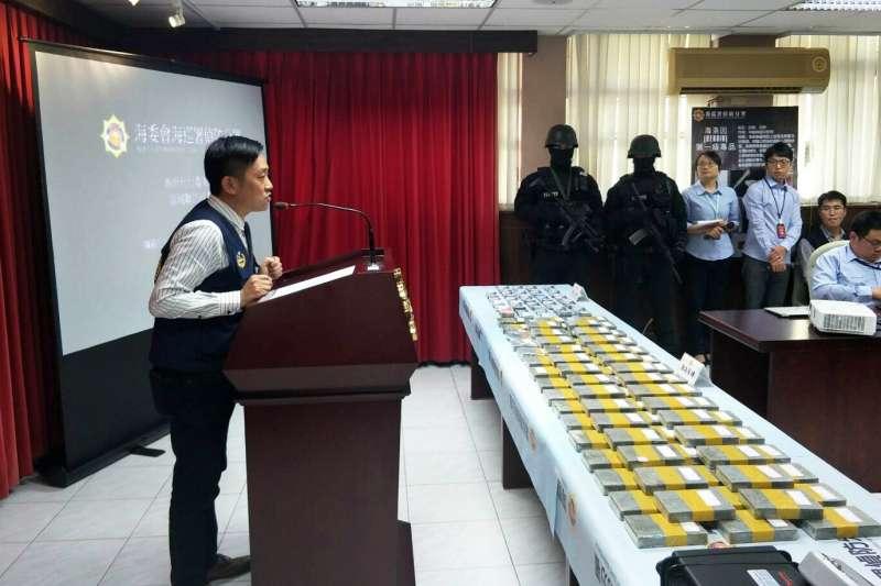 海委會海巡署偵防分署台北查緝隊、台北市警察局萬華分局會同多個單位,近日查獲泰國籍主嫌SREENACK、台籍高姓犯嫌2人到案。(海巡署提供)