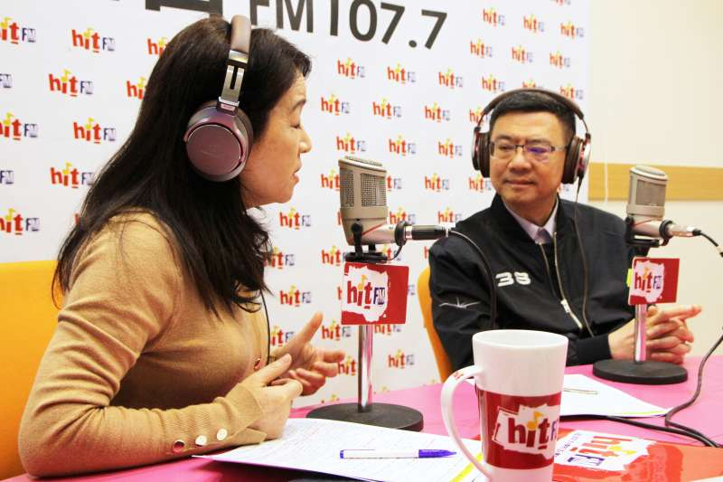 20190320-民進黨主席卓榮泰20日接受廣播節目主持人周玉蔻專訪。「Hit Fm《周玉蔻嗆新聞》製作單位提供」