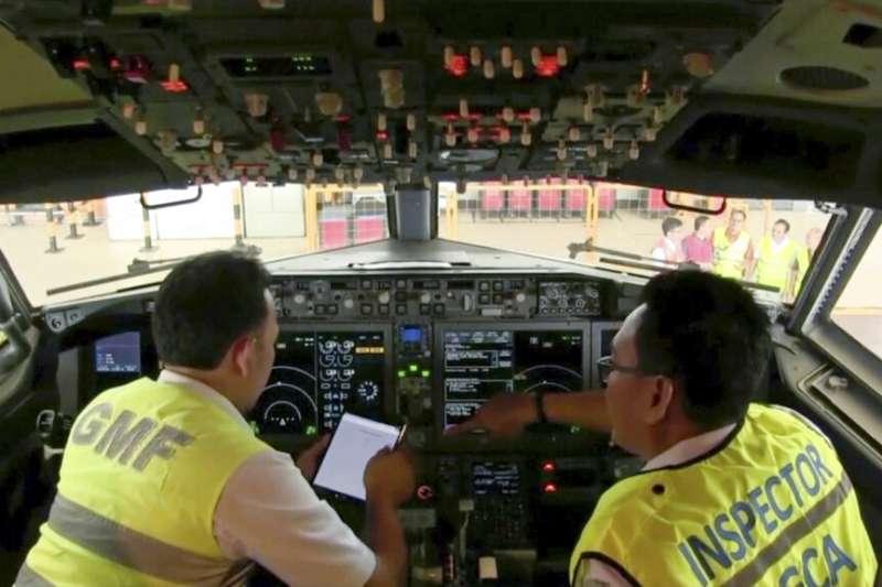 波音737 MAX 8的駕駛艙。(美聯社)