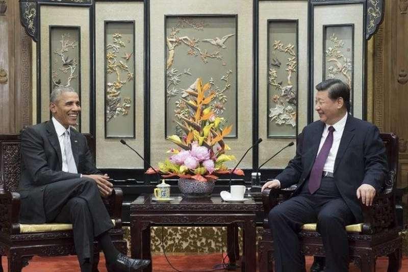 2017年11月29日,習近平在釣魚台國賓館會見美國前總統歐巴馬。(BBC)