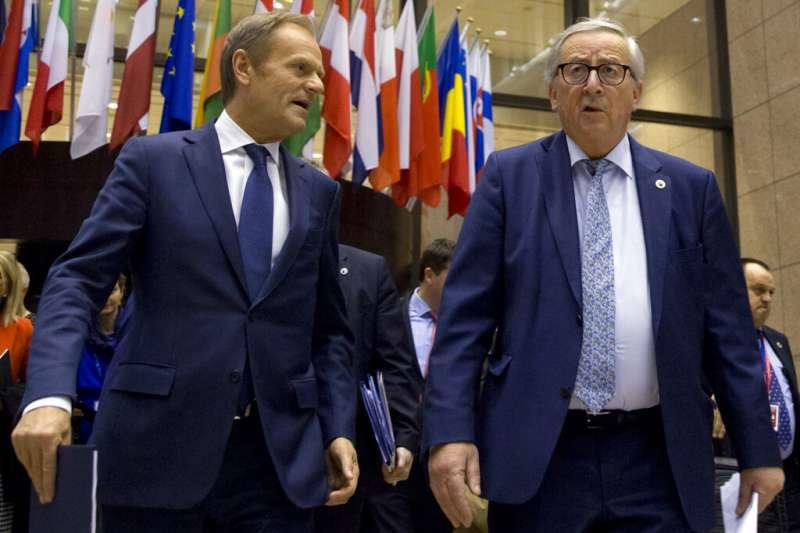 歐洲理事會主席圖斯克與歐盟執委會主席容克。(美聯社)