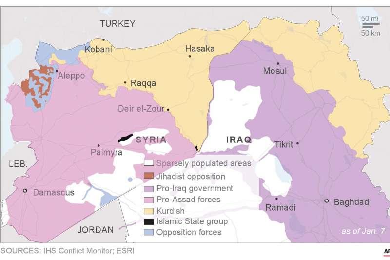 2019年初的敘利亞與伊拉克情勢,黑色部分即為伊斯蘭國的最後據點(AP)