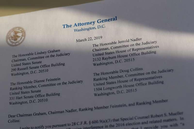 2019年3月22日,司法部長巴爾發信告知國會,已收到特別檢察官穆勒的通俄門調查報告。(美聯社)
