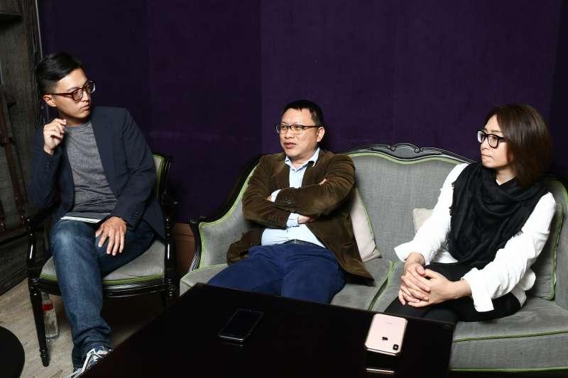 20190321-公視「我們與惡的距離」左起導演林君陽,製作人湯昇榮、林昱伶21日接受專訪。(蔡親傑攝)