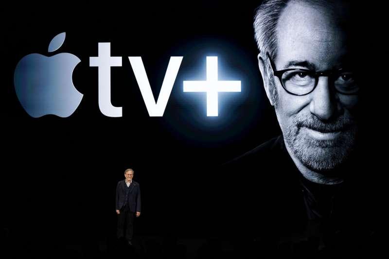 蘋果推出串流電視,連知名大導史蒂芬史匹柏也來站台。(美聯社)