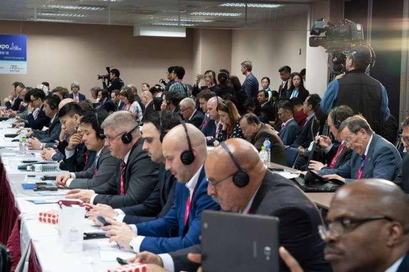 2019智慧城市首長高峰會26日於南港展覽館舉行,約有128位城市首長及代表參加。(圖/臺北市政府資訊局提供)