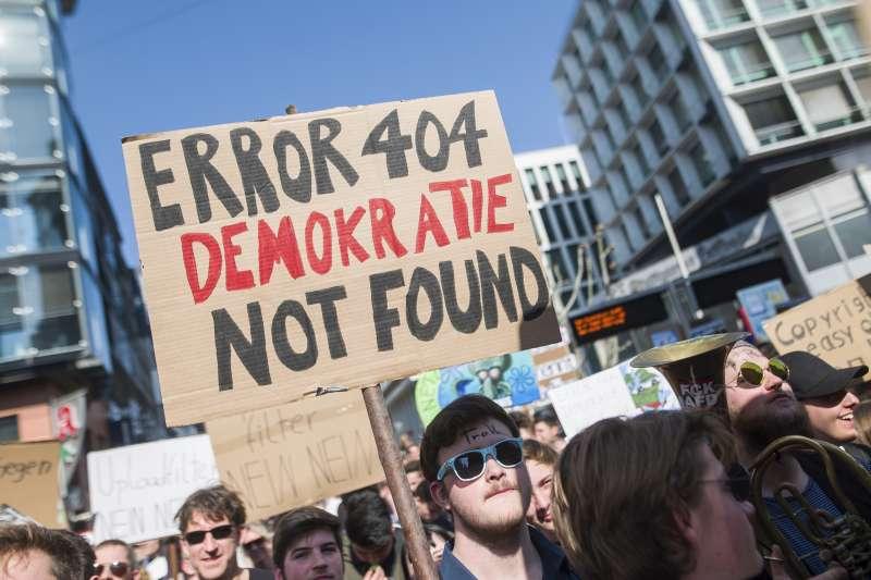 德國民眾上街反對歐洲議會通過新版權法規(AP)