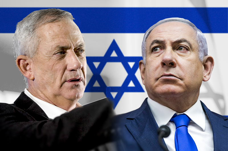 以色列國會大選將於4月9日登場,現任總理納坦雅胡(右)面臨前參謀總長甘茨(左)的強力挑戰。(AP,風傳媒製圖)