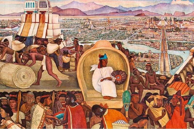 Diego Rivera 所繪在西班牙入侵前的阿茲提克帝國《特拉特洛爾科市集(Tlatelolco Market)》部分