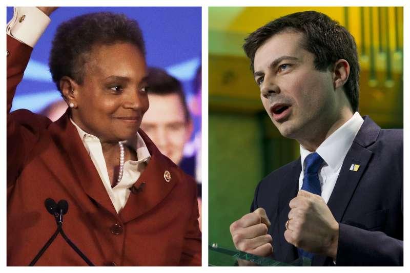 美國民主黨總統初選參選人、印第安納州南本德同志市長布德賈吉與芝加哥首位非裔女同志市長萊特福特(AP)