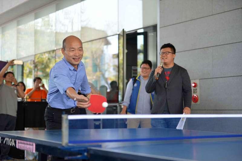 高雄市長韓國瑜9日行程滿檔,白天先是和桌球國手莊智淵PK,深夜也即將展開搭機,展開10天的訪美行程。(資料照,高雄市政府提供)