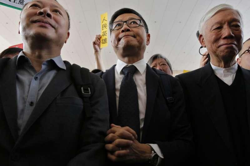 佔中三子:戴耀廷、陳健民、朱耀明(由左至右)。(美聯社)