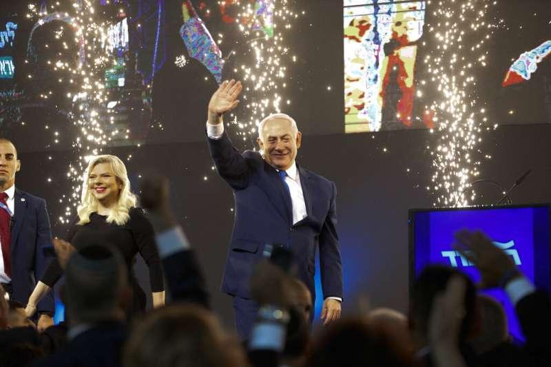 2019年4月9日以色列大選,總理納坦雅胡宣告勝選。(AP)