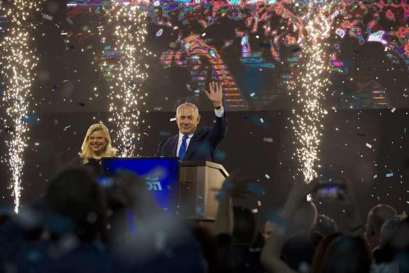 以色列現任總理納坦雅胡宣布當選。(美聯社)