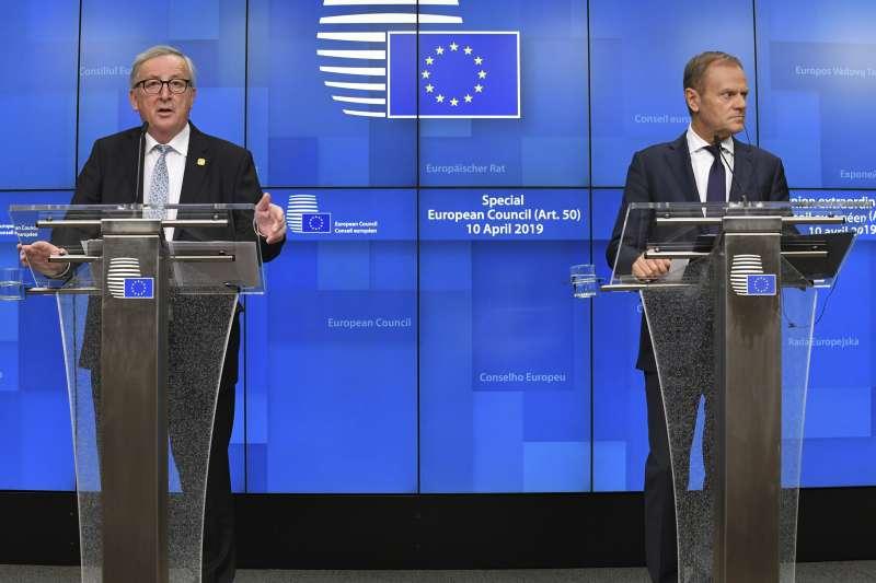 萬聖節脫歐:歐洲理事會主席圖斯克(右)與歐盟執委會主席容克(AP)
