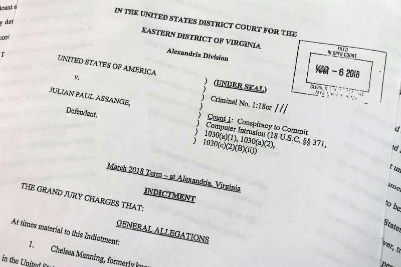 2019年4月11日,美國司法部宣布將起訴阿桑奇入侵美國政府電腦,竊取機密。(美聯社)