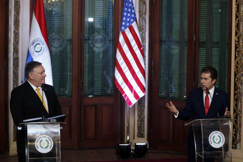 美國國務卿龐畢歐與巴拉圭副總統兼外長賈斯迪優尼(AP)