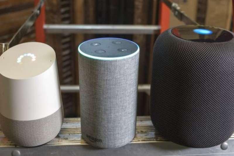 谷歌家庭,亞馬遜Echo和蘋果智能音箱。(BBC中文網)