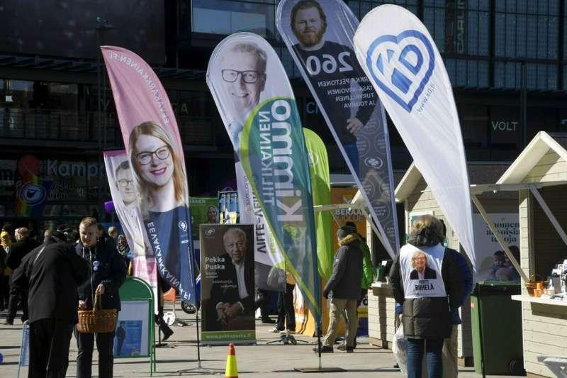 赫爾辛基街頭的選舉旗幟飄揚,芬蘭大選結果也在15日底定:左派的社會民主黨以17.7%的得票率勝出。(美聯社)