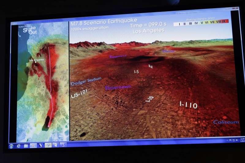 美國研究團隊展示加州洛杉磯的地震波。(AP)