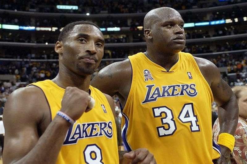 兩位湖人時期的老戰友布萊恩(左)和歐尼爾(右)都在聯盟富豪榜上。(美聯社)