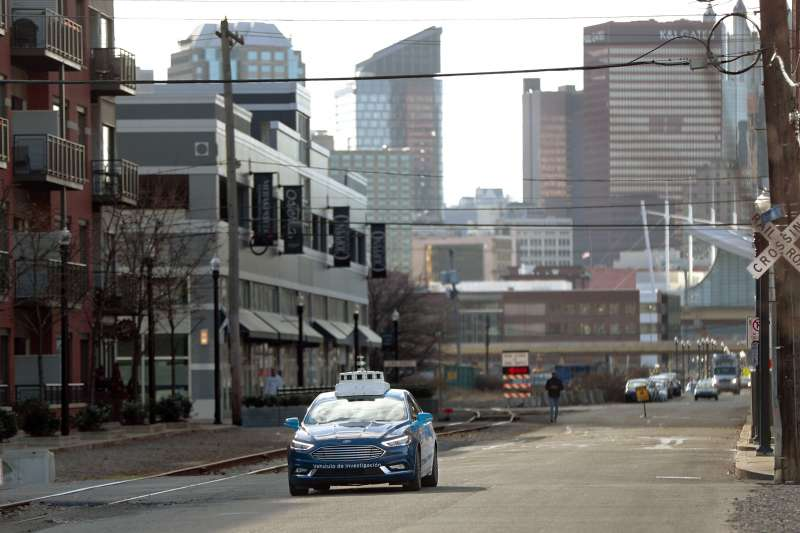 美國福特汽車(Ford)大力投資的自駕車公司「Argo AI」的自駕車。(AP)