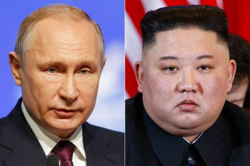北韓領導人金正恩與俄國總統普京。(美聯社)