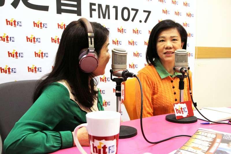 20190423-民進黨立委葉宜津(右)23日上午接受《周玉蔻嗆新聞》專訪。(Hit Fm《周玉蔻嗆新聞》製作單位提供)