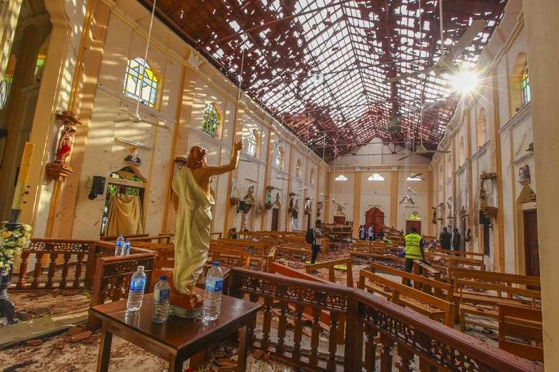斯里蘭卡遭遇復活節恐攻,爆炸現場之一的塞巴斯蒂安教堂(St Sebastian's Church)。(美聯社)