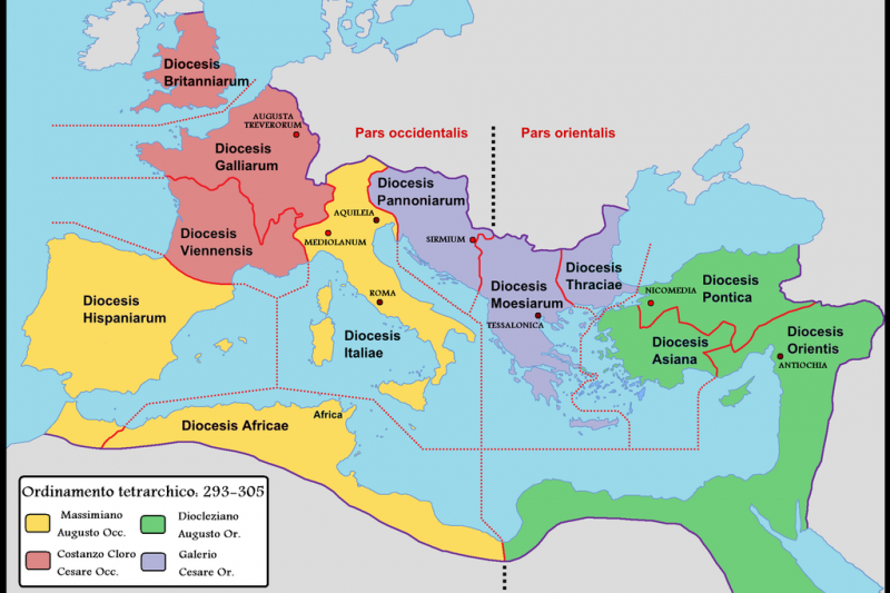 第一次四帝共治 (293-305年),黃:西帝國奧古斯都馬克西米安,綠:東帝國奧古斯都戴克里先,紅:西帝國凱撒君士坦提烏斯,藍:東帝國凱撒加列里烏斯。(維基百科公有領域)