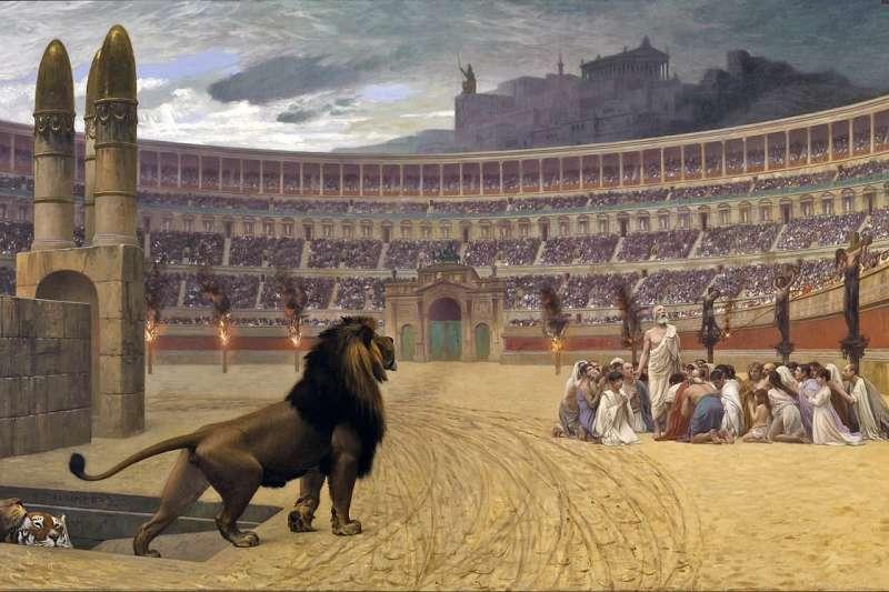 戴克里先廢除基督教的合法權益並要求他們遵守傳統的古羅馬宗教習俗,同時開啟對基督教的迫害。(維基百科公有領域)