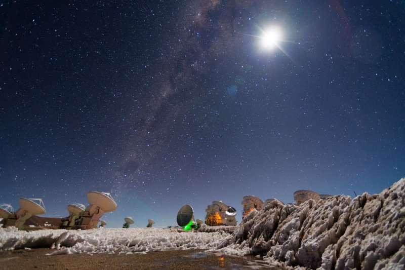 位於智利Atacama5000米高山上的ALMA陣列天線。(翻攝自ALMA網站)