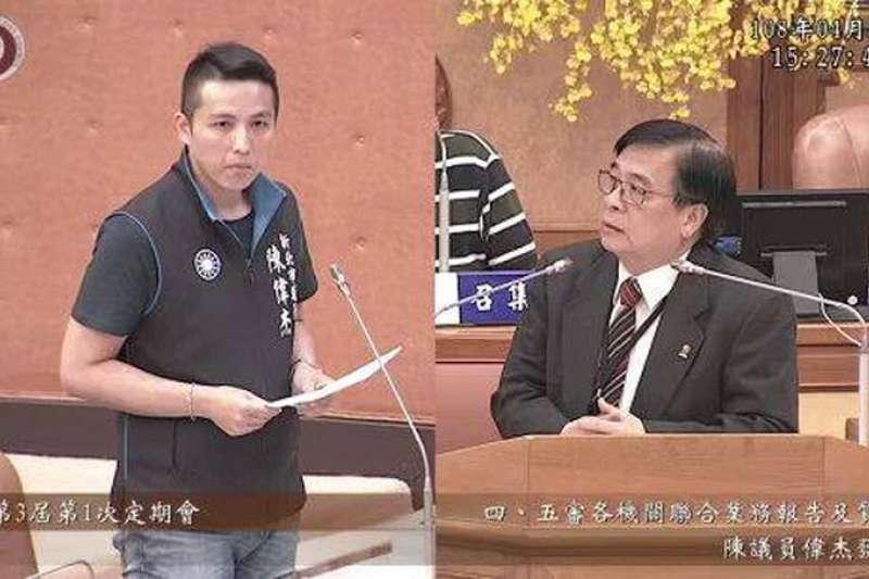 新北市議員陳偉杰(左)出席議會針對新北市政府與微笑單車合作試辦E-YouBike計畫暫停要求市府要對淡水民眾負責;交通局局長鍾鳴時(右)表示已著手進行。(圖/新北市議會提供)
