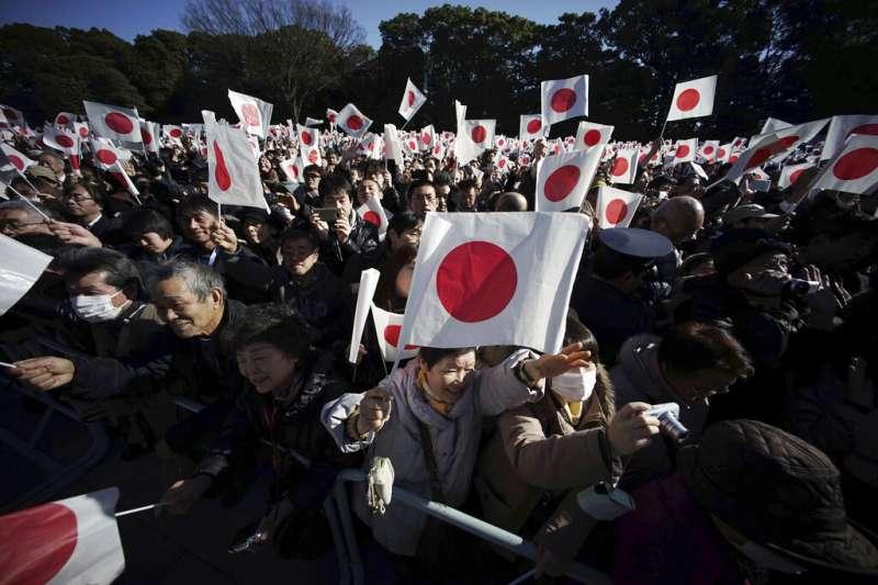 日本、日本國旗。(美聯社)
