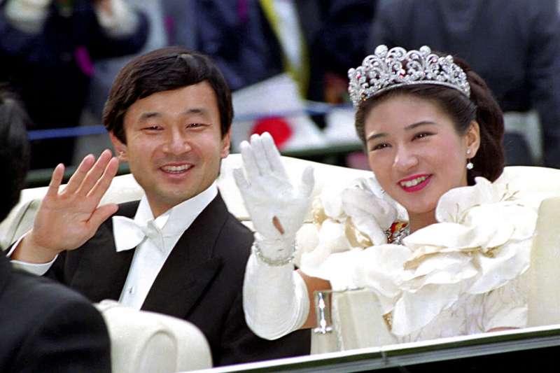 德仁親王1993年與平民出身的小和田雅子結婚。(美聯社)