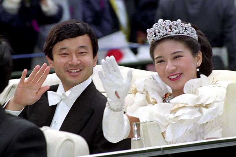 1993年結為連理的德仁親王與雅子妃,曾是日本在昭和年代的美好童話。(美聯社)