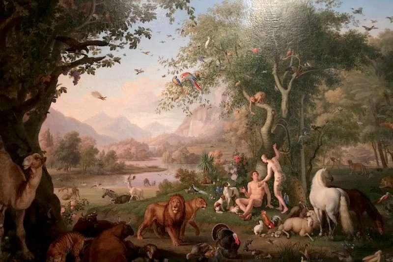 珍藏在梵蒂岡博物館畫家文策爾的「伊甸園中的亞當和夏娃」(曾廣儀攝)
