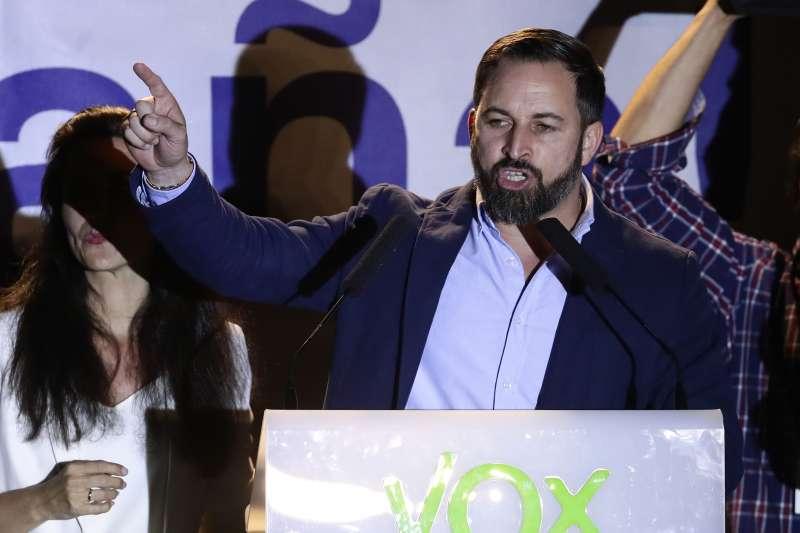 2019年4月28日,西班牙舉行國會大選,極右派「聲音黨」(Vox)異軍突起,領導人阿巴斯卡向支持者喊話(AP)