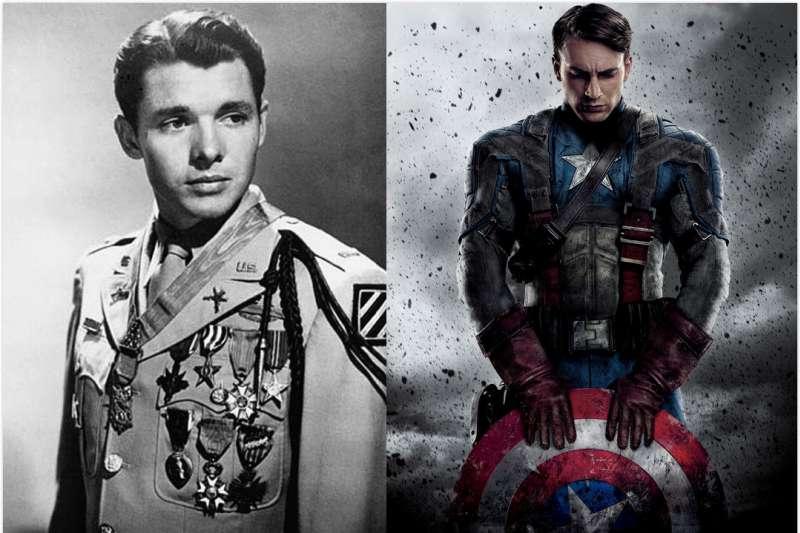 漫威系列中的美國隊長有些畫面似乎是向「最強單兵」奧迪.墨菲致敬。(圖/維基百科)