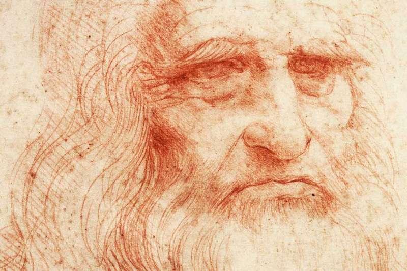 達文西自畫像,大約畫於1512年至1515年,被普遍視為最初的達文西自畫像(Public Domain/Wikipedia)