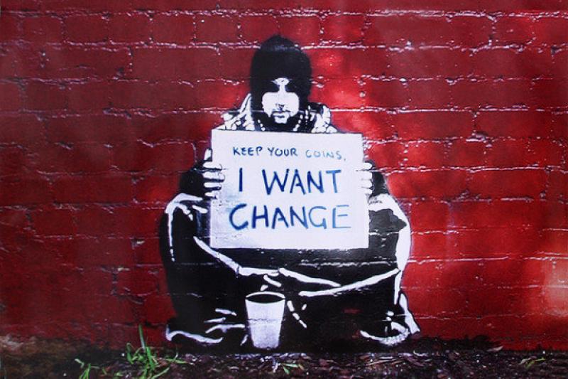 街頭藝術家BANKSY要求社會改革的畫作。(作者提供)