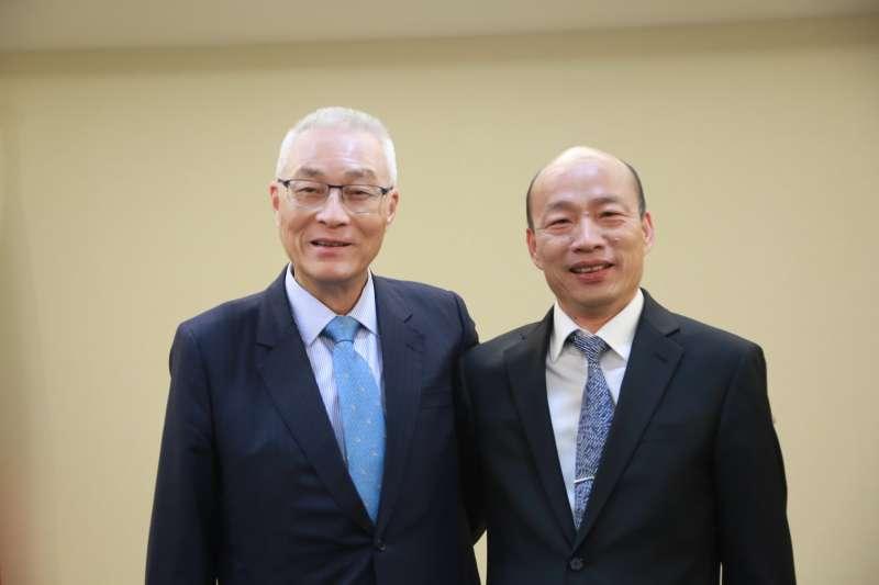 國民黨主席吳敦義(左)及高雄市長韓國瑜(右)。(資料照,國民黨文傳會提供)