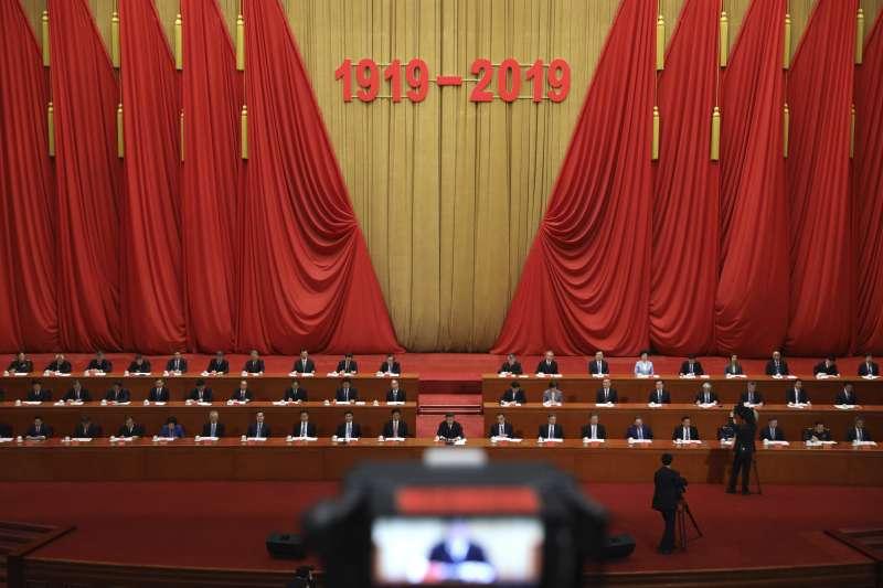 4月30日在北京舉行的五四運動100周年紀念活動。(AP)